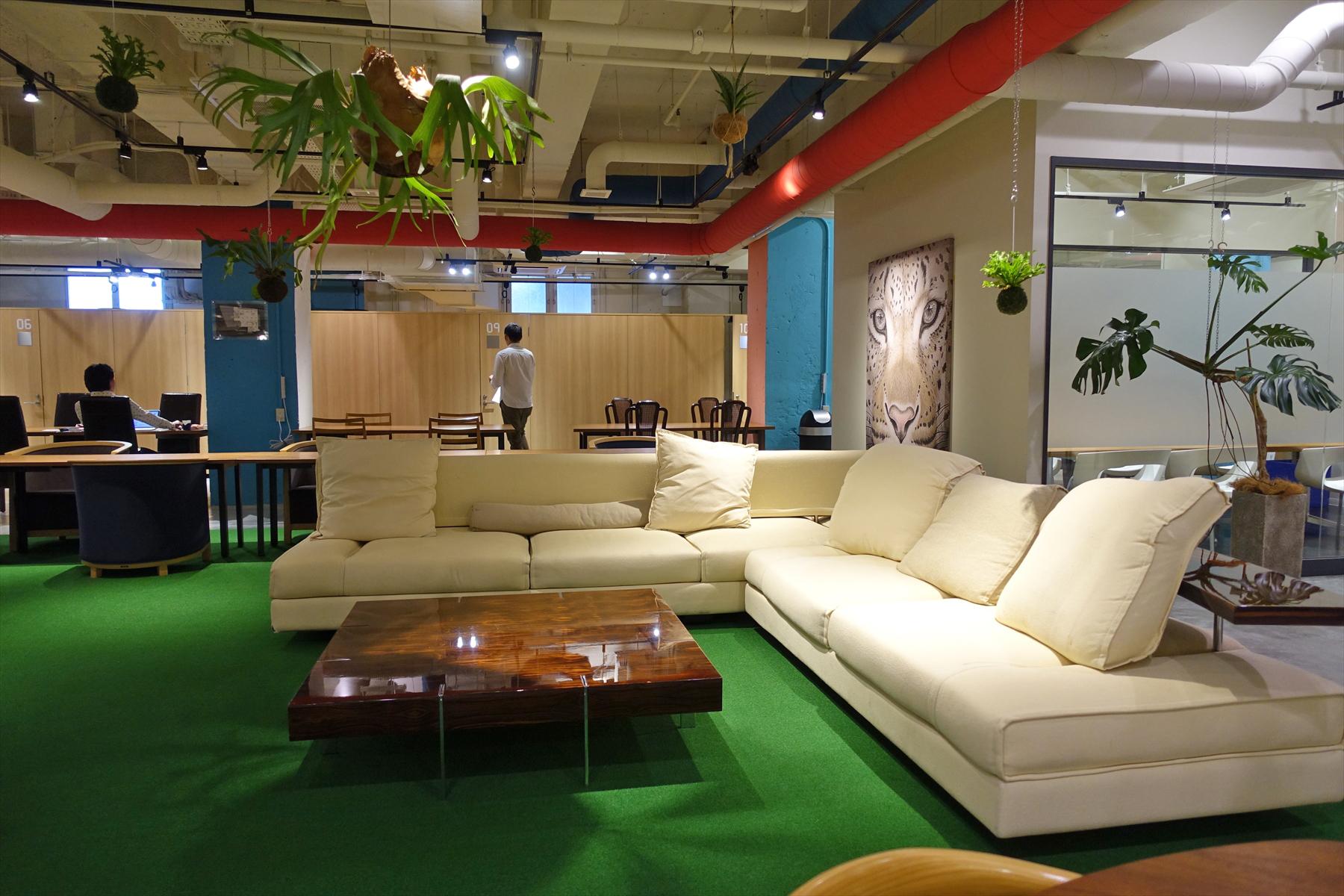 広々とした空間とソファ